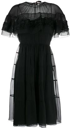 Prada Ruffled Flared Midi Dress