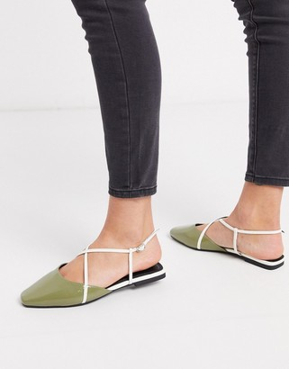 ASOS DESIGN Lola ballet flats in mint and white
