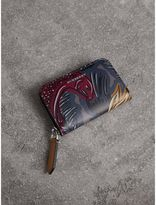 Burberry Beasts Print Leather Ziparound Coin Case