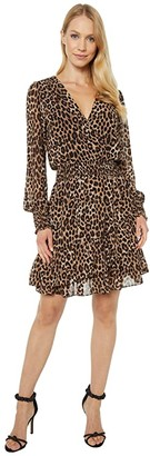 MICHAEL Michael Kors Mega Cheetah Ruffle Wrap Dress (Dark Camel) Women's Dress
