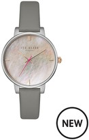 Ted Baker Silver Case Mother Of Pearl Dial Grey Leather Strap Ladies Watch