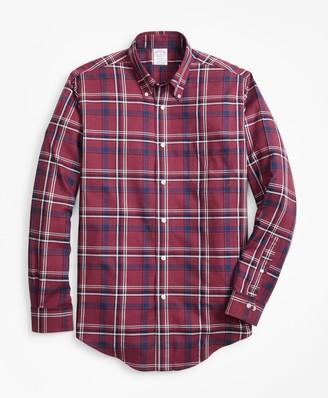 Brooks Brothers Non-Iron Regent Fit Burgundy-Navy Plaid Sport Shirt