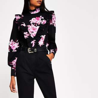 River Island Womens Black floral print frill front blouse