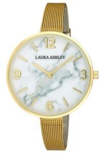 Laura Ashley Ladies' Marbleized Dial Gold Skinny Mesh Band Womens Watch