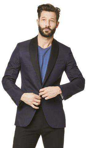 Todd Snyder Black Label Silk Textured Jacquard Sutton Shawl Collar Diner Jacket in Navy Pindot