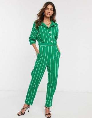 Liquorish button front jumpsuit in green stripe