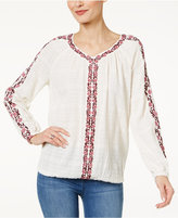 Style&Co. Style & Co Cotton Embroidered Peasant Top, Only at Macy's