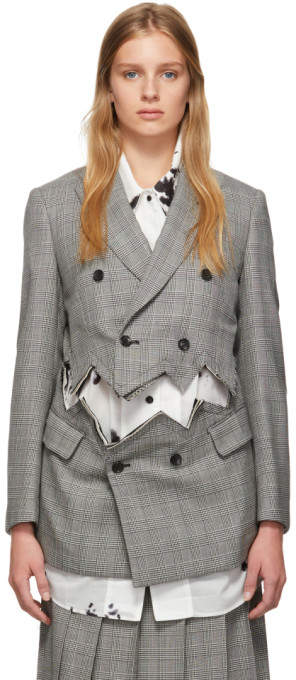Comme des Garcons Black and Beige Zig Zag Slit Blazer