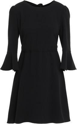 Diane von Furstenberg Bow-detailed Velvet-trimmed Crepe Mini Dress