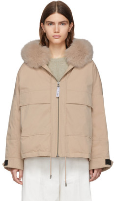 Yves Salomon Army Pink Down and Fur Bachette Jacket