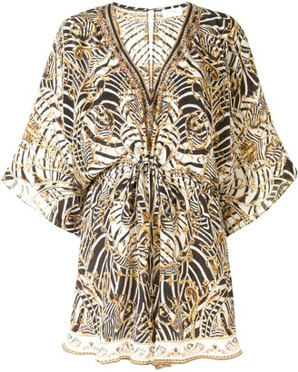 Camilla V-neck animal print romper