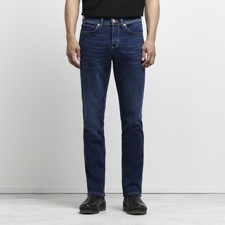 River Island Mens Dark Blue Clint bootcut stretch jeans