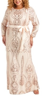 R & M Richards Plus Size Embellished Open-Back Gown
