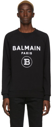 Balmain Black Flocked Logo Sweater