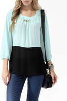 Forever 21 Colorblocked 3/4 Sleeve Blouse