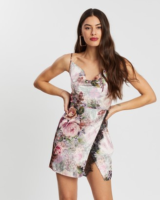 Missguided Strappy Cowl Front Lace Split Mini Dress
