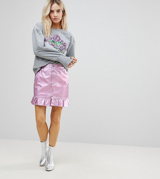 Chorus Petite Pink Foiled Denim Skirt with Frill Hem