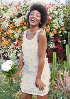 At a Rosette Time Sequin Dress in Ivory in L