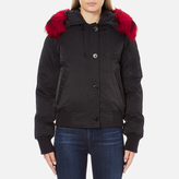 Kenzo Women's Removable Red Fur Lined Short Parka Black