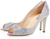 XYD Women Black Peep-Toe Pumps Sandals Rhinestones Classic Wedding Party Heels Size 7