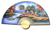 Oriental Furniture Asian Art, Decor and Gifts, 40-Inch Hand Painted Thai Silk and Bamboo Decorative Wall Fan, Paradise