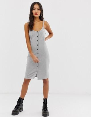 Noisy May button through rib cami midi dress-Grey