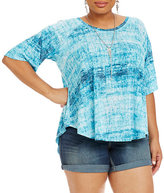 Chelsea & Theodore Plus Digital Tie-Dye-Print Shirttail Top