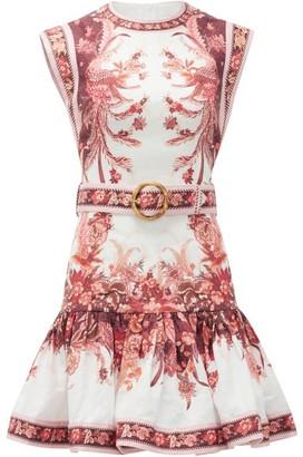 Zimmermann Wavelength Floral-print Belted Linen Dress - Womens - Pink Print