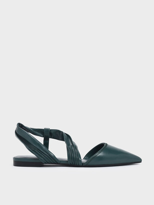 Charles & Keith Ruched Strap Covered Flat Sandals