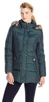 Anne Klein Women's Down Coat with Faux Fur-Trimmed Hood