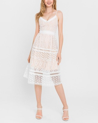 Express Endless Rose Lace Fit And Flare Midi Dress