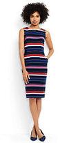 Lands' End Women's Petite Sleeveless Ponte Sheath Dress-Aurora Pink Multi Stripe