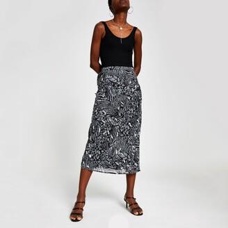 River Island Womens Grey print embellished midi skirt