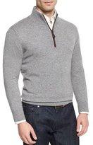 Neiman Marcus Nano-Cashmere 1/4-Zip Pullover, Gray