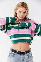 Out From Under Striped Cropped Hoodie Sweatshirt