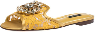 Dolce & Gabbana Yellow Lace Jeweled Embellishment Flat Slides Size 35.5