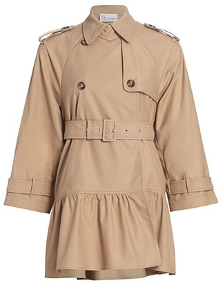 RED Valentino Flounce Hem Trench Coat