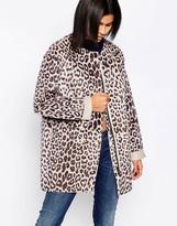 Pepe Jeans Faux Pony Fur Leopard Print Coat