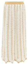 My Beachy Side - Firtek Scalloped-hem Crochet Midi Skirt - Womens - Cream