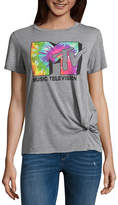 Fifth Sun Short Sleeve MTV Graphic Knotted T-Shirt- Juniors
