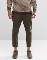 Asos Cropped Tapered Pants With Military Pockets In Khaki