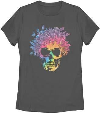 Unbranded Juniors' Skull Tie Dye Flowers Tee