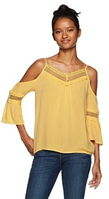 Amy Byer A. Byer Women's Cold Shoulder Bell Sleeve Top with Lace