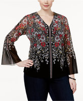 INC International Concepts Plus Size Floral-Print Bell-Sleeve Top, Only at Macy's