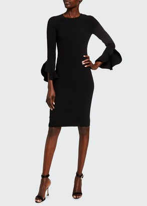 Michael Kors Crepe Ruffled-Sleeve Sheath Dress