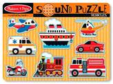 Melissa & Doug Vehicles Sound Puzzle - Wooden Peg Puzzle With Sound Effects (8pc)