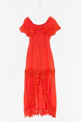 Nasty Gal Womens Crochet We Go Off-the-Shoulder Maxi Dress - Orange - S, Orange