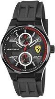Ferrari Scuderia Men's Quartz Stainless Steel and Silicone Casual Watch, Color:Black (Model: 830356)