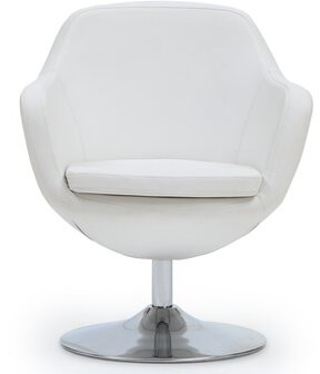 """Thumbnail for your product : Ivy Bronx Clintonville 27"""" Wide Swivel Armchair Fabric: White Faux Leather"""
