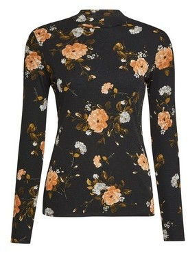 Dorothy Perkins Womens Multi Colour Floral Print Mesh High Neck Top